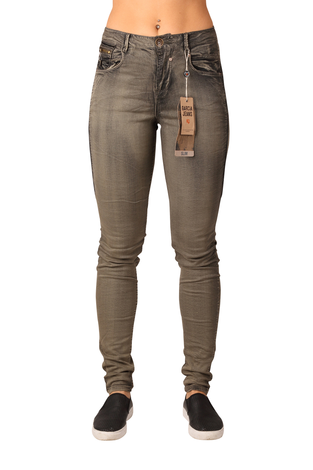 Brillant Garcia Damen Slim Jeans Celia G50113 Army Wash