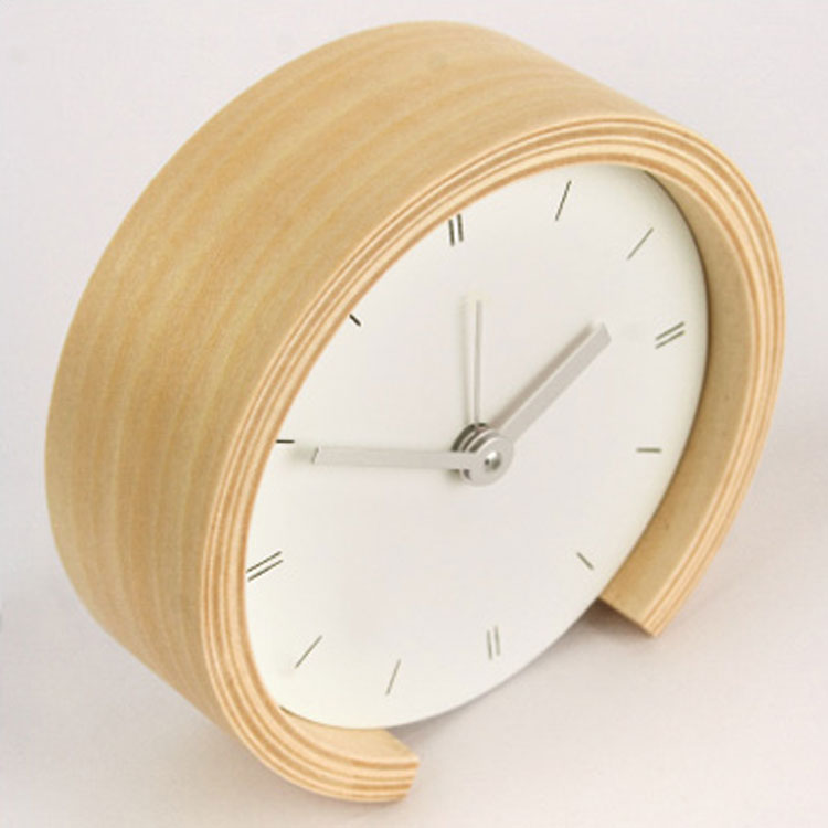 lodi wanduhr mit wecker aus holz in 10 2x10 2 cm runde analoge wand uhr ebay. Black Bedroom Furniture Sets. Home Design Ideas