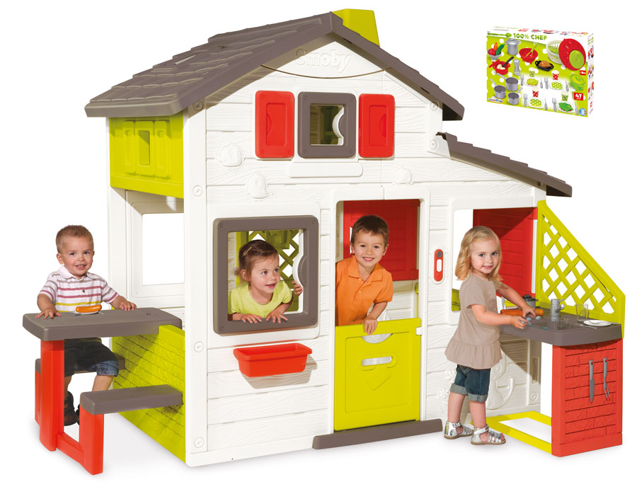 smoby friends house spielhaus mit k che und mit extra geschirr garten kinderhaus ebay. Black Bedroom Furniture Sets. Home Design Ideas
