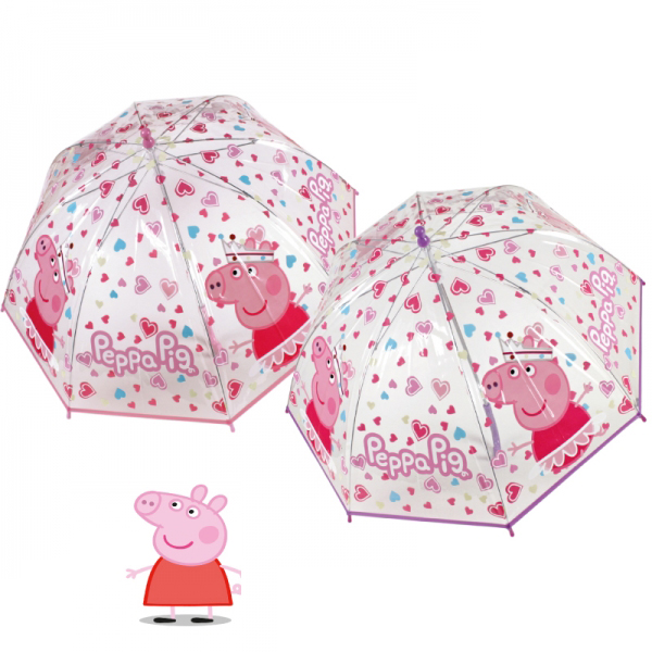 kinder regenschirm transparent peppa pig wutz regen schirm pink herzen ebay. Black Bedroom Furniture Sets. Home Design Ideas