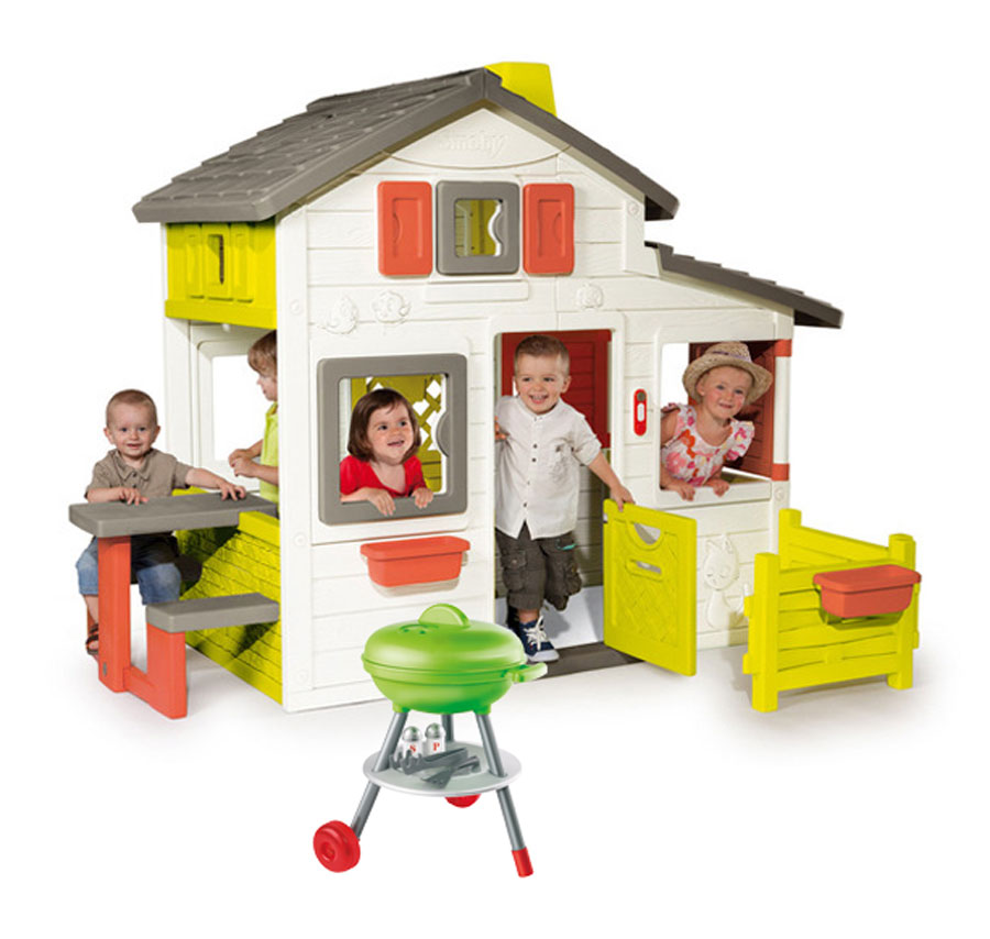 smoby friends house spielhaus mit grill kinder garten haus kindergrill barbeque ebay. Black Bedroom Furniture Sets. Home Design Ideas
