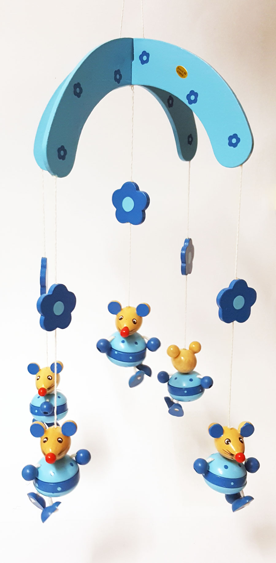 holz mobile maus blau kinderzimmer deko kinder baby holzmobile babyzimmer ebay. Black Bedroom Furniture Sets. Home Design Ideas